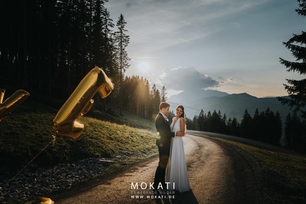 Sonnenuntergangsfotos auf der Lisa Alm mit Hochzeitsfotograf München
