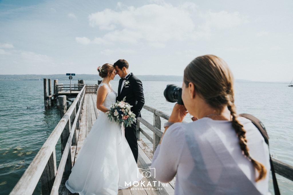 Brautpaarfotos mit Hochzeitsfotografin am Ammersee