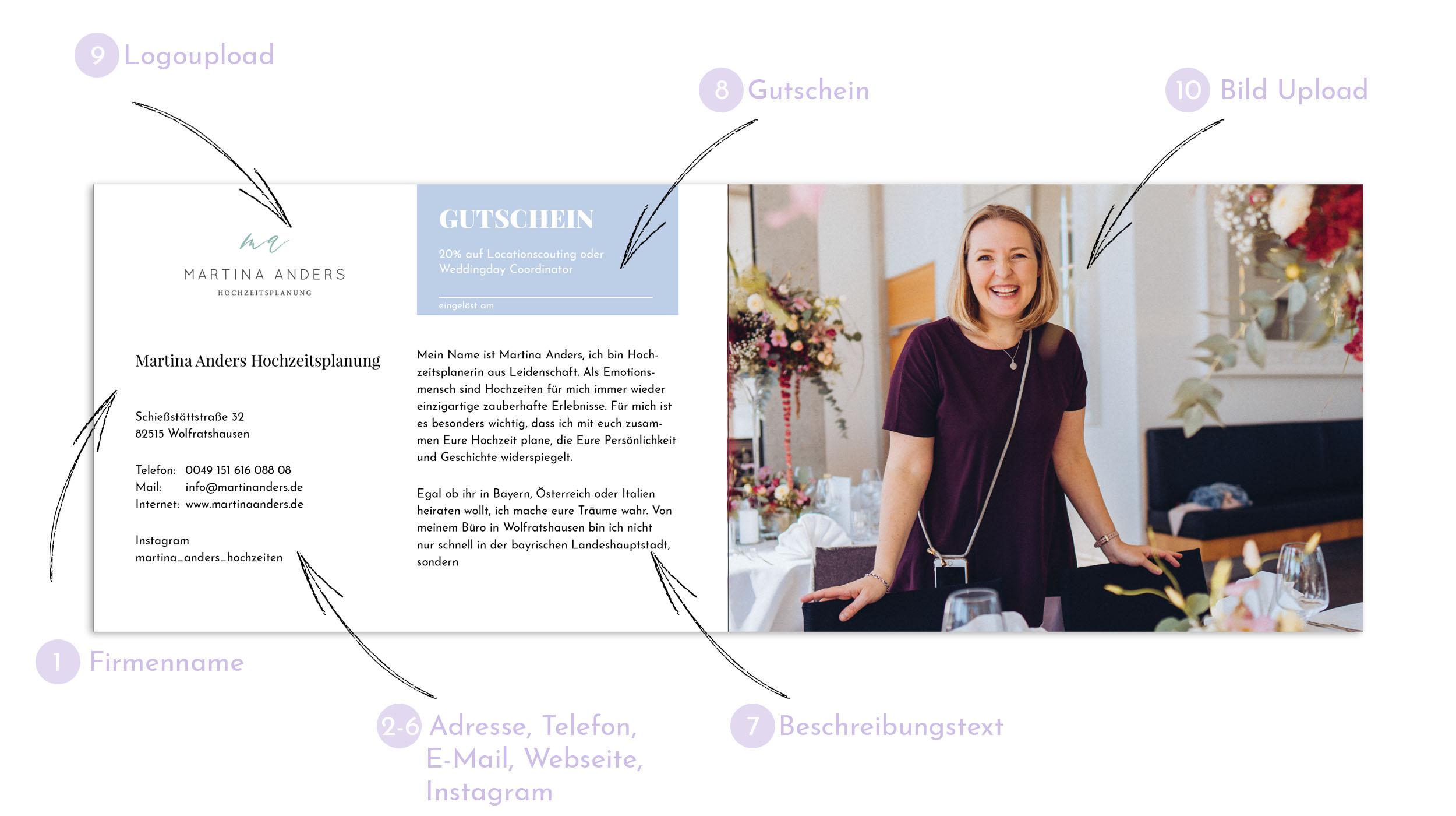 Layout für das Inserat im Gutscheinbuch für die Hochzeit von MOKATI und Martina Anders Hochzeitsplanung
