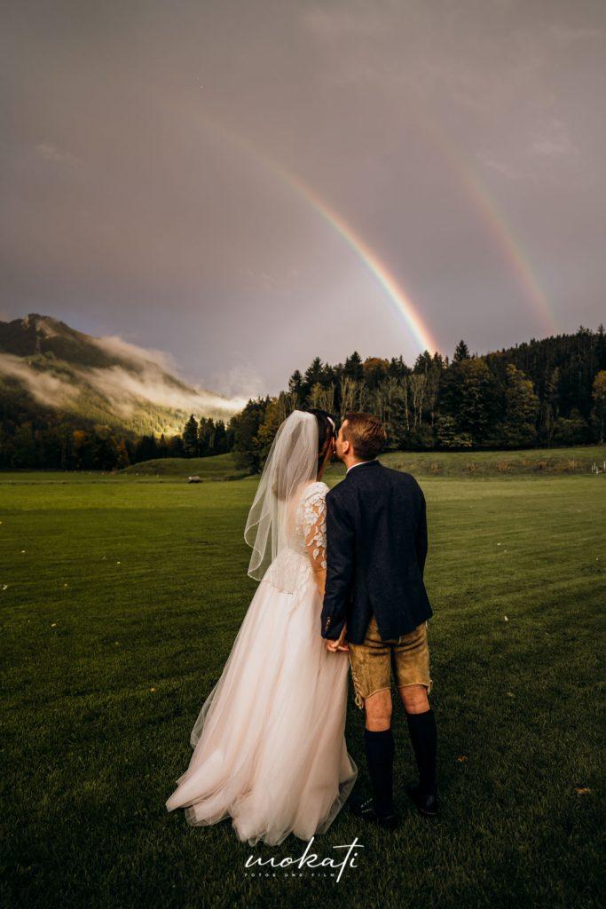 Hochzeitsfotos mit Regenbogen
