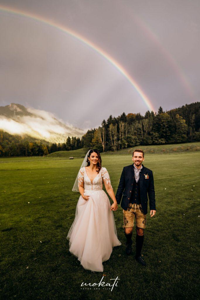 Hochzeitsfilm mit Regenbogen