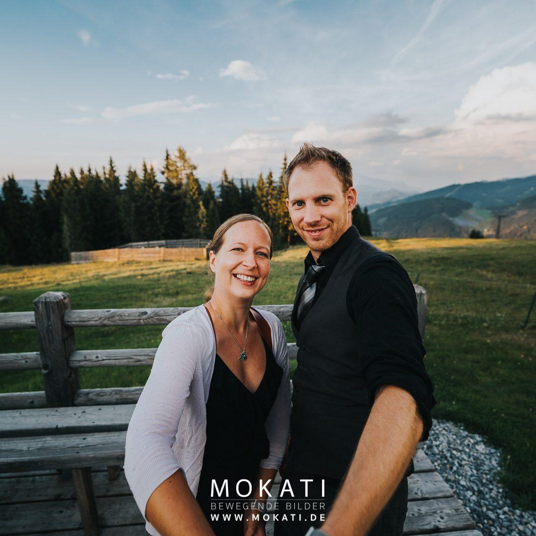 Hochzeitsfotograf Claudia und Hochzeitsvideograf Andy auf der Lisa Alm in der Flachau