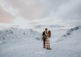 Heiraten im Schnee in den Bergen